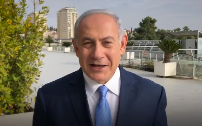 Prime Minister Benjamin Netanyahu in a video released on November 21, 2018, wishing Americans a happy Thanksgiving. (Screenshot: Twitter)