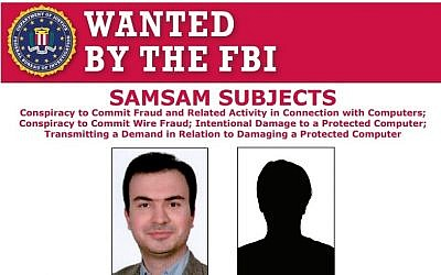 Screen capture from FBI wanted poster for Iranians Mohammad Mehdi Shah Mansouri, left, and Faramarz Shahi Savandi who are suspected of ransomware cybercrimes against US institutes. (FBI)