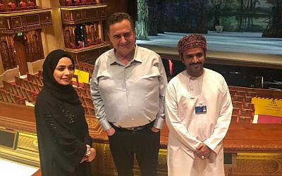 Transportation and Intelligence Minister Israel Katz, center, in Oman, November 5, 2018. (courtesy)