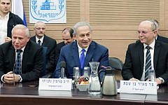 Prime Minister Benjamin Netanyahu, center, Foreign Affairs and Defense Committee chair MK Avi Dichter, left, and National Security Adviser Meir Ben-Shabbat, right, at an FADC meeting in the Knesset, November 19, 2018. (Amos Ben Gershom/GPO)