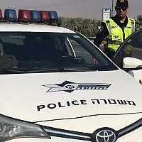 Illustrative: A police officer giving a ticket in the West Bank. (Israel Police)