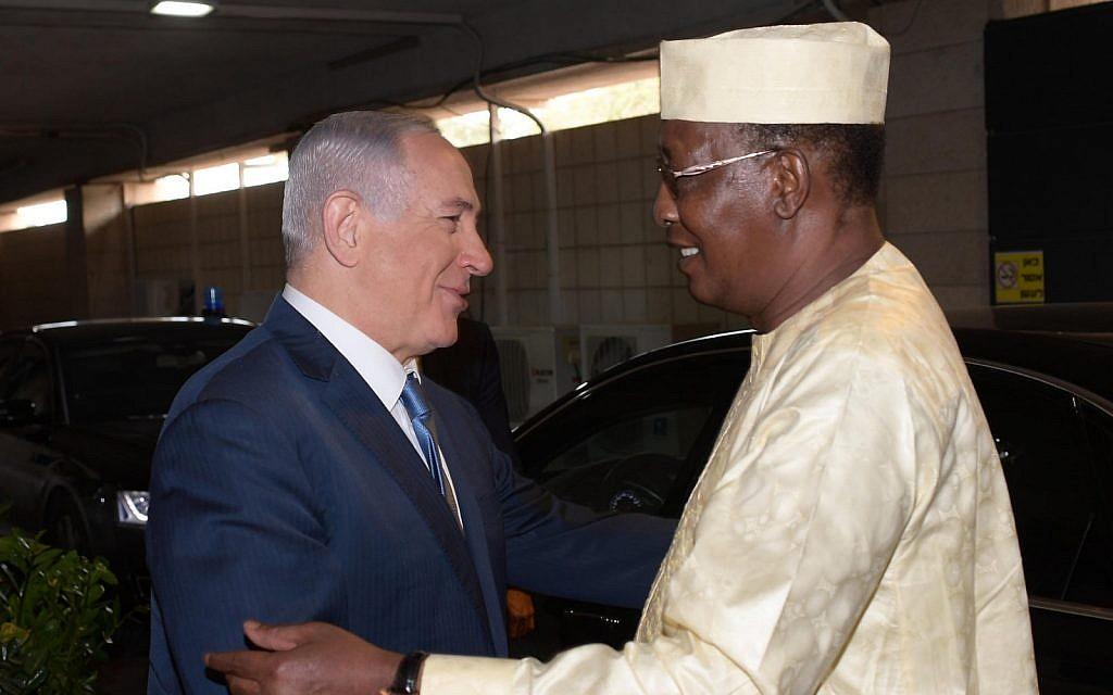 PM Netanyahu with Chadian President Deby in Jerusalem, November 2018. (GPO)