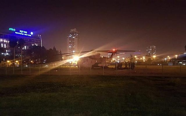 A helicopter carrying a wounded Israeli soldier who was injured during an operation in the Gaza Strip lands outside Beersheba's Soroka Medical Center on November 11, 2018. (Twitter)