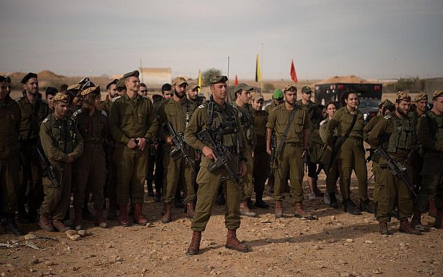 Soldiers take part in a ceremony marking the creation of the new Faran Brigade in the Israel Defense Forces, which will defend the Egyptian-Israeli border, in November 2018. (Israel Defense Forces)