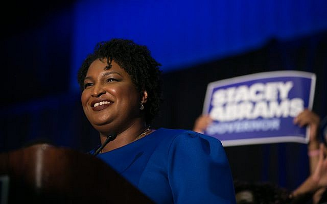 Georgia Democratic gubernatorial candidate Stacey Abrams takes the stage to declare victory in the primary, during an election night event on May 22, 2018, in Atlanta, Georgia. (Jessica McGowan/Getty Images via JTA)