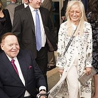 The Adelsons arrive at the opening of the US Embassy in Jerusalem, May 14, 2018. The couple are staunch supporters of the Jewish state. (Lior Mizrahi/Getty Images/via JTA)
