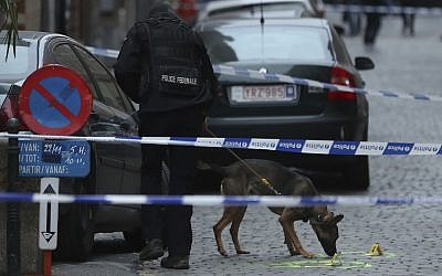 A police officer and dog work in a cordoned off area where a policeman was stabbed in Brussels, early morning Tuesday, Nov. 20, 2018.  (AP Photo/Francisco Seco)