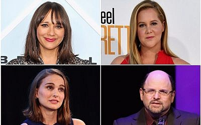From top left, clockwise, Rashida Jones, Amy Schumer, Jason Alexander and Natalie Portman. (Jones photo: John Sciulli/Getty Images for Beverly Center; Schumer photo: Frazer Harrison/Getty Images; Alexander photo: Jesse Grant/Getty Images; Portman photo: Joe Scarnici/Getty Images for Vulture Festival; all via JTA)