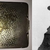 The silver cigarette case made by Jewish artist Chaim Klieger that was used to bribe Lodz Ghetto prison warden Salomon Hercberg, right, during the Holocaust.