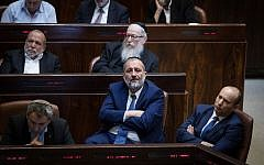 Shas party leader and Interior Minister Aryeh Deri at the Knesset in Jerusalem on November 19, 2018, during a special plenum session in memory of late Minister of Religious Affairs David Azoulay. (Hadas Parush/Flash90)