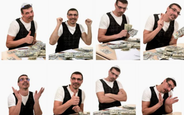 Shutterstock removes images of a man wearing a Jewish skullcap while celebrating with money (Shutterstock/Twitter)