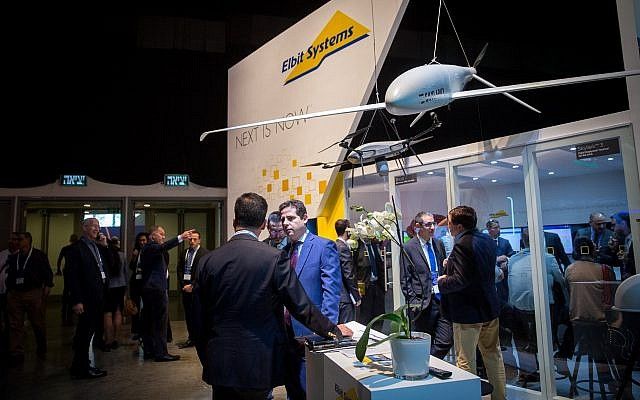 A drone exhibit at the 5th International Homeland Security and Cyber Exhibition, Tel Aviv, November 13, 2018.  (Miriam Alster/FLASH90)