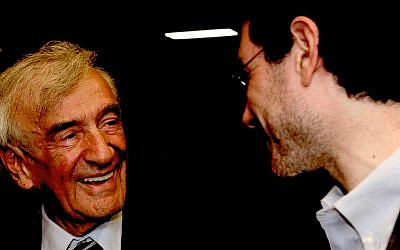 Elie Wiesel (left) with student Ariel Burger, author of a book based on Wiesel as an educator (courtesy)