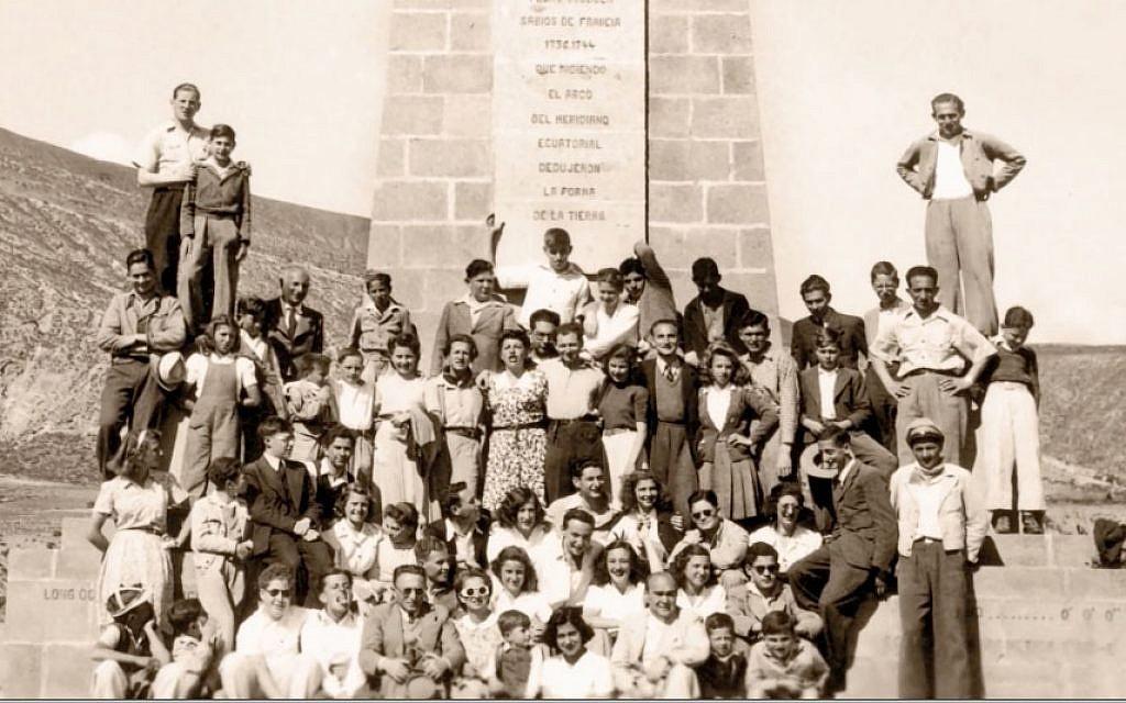 Ecuador's Jewish-exile community in the 1940s at the Equatorial monument in Quito, Ecuador. (Courtesy Eva Zelig)