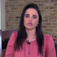 Justice Minister Ayelet Shaked of Jewish Home speaks to Channel 10 news, November 16, 2018 (Channel 10 screenshot)
