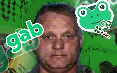 Robert Bowers used the social media site Gab, one of a number of havens for the far-right, to vent his hatred of Jews and immigrants. (AFP/ Getty Images/JTA Collage)