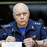 Gen. Col. Igor Korobov, the head of the Main Directorate of the General Staff of the Russian Armed Forces, speaks during a news conference in the Russian Defense Ministry's headquarters in Moscow, Russia, on August 25, 2017. (Russian Defense Ministry Press Service via AP)