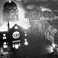 Synagogue in Hanover, Germany, set ablaze during the Kristallnacht pogrom of November 9-10, 1938 (public domain)