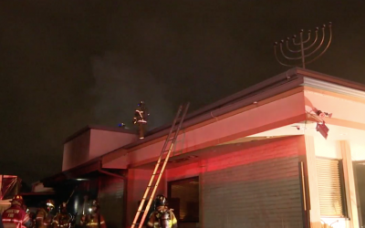 A view of the burning Torah Vachesed synagogue in southwest Houston. (KTRK Houston via JTA)