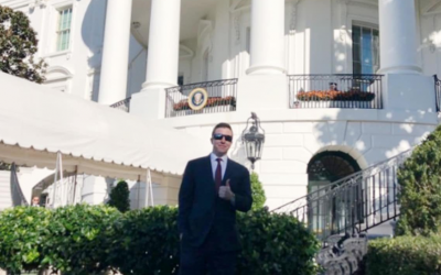 Patrick Casey, a leader of the white nationalist and anti-Semitic group Identity Evropa, seen at the White House on November 7, 2018. (Twitter via JTA)