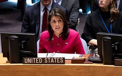 Nikki Haley speaks at a UN Security Council Meeting on the Middle East on November 19, 2018 (Courtesy)