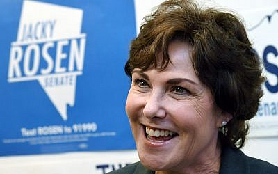 US Rep. and US Senate candidate Jacky Rosen (D-NV) is interviewed after rallying supporters at a get-out-the-vote canvass launch at a Nevada State Democratic Party field office on November 4, 2018 in Las Vegas, Nevada. Rosen is trying to unseat Republican Dean Heller in a tight Senate race.  (Photo by Ethan Miller/Getty Images via JTA)