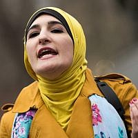 Activist Linda Sarsour speaks during a 'Women For Syria' gathering at Union Square, in New York City, April 13, 2017. (Drew Angerer/Getty Images via JTA)