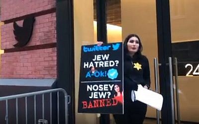 Laura Loomer during a protest outside Twitter's Manhattan offices on November 29, 2018. (Screen capture: Periscope)
