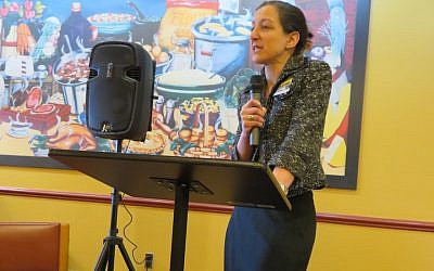 Elaine Luria speaks at a Democratic committee meeting in Norfolk, Va., Feb. 3, 2018. The Navy veteran upset a Republican incumbent to win a House seat. (Ron Kampeas/JTA)
