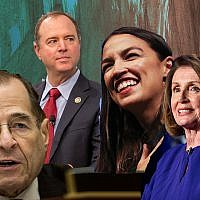 The new Democratic majority in the House of Representatives will see, from left, Jewish lawmakers Jerrold Nadler and Adam Schiff in key leadership roles, upstart Alexandria Ocasio-Cortez representing the insurgent left and Nancy Pelosi in line to be speaker. (Getty Images/via JTA)