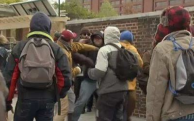 Violence between right- and left-wing protesters at Philadelphia's Independence Mall, November 17, 2018. (NBC10 screen capture)