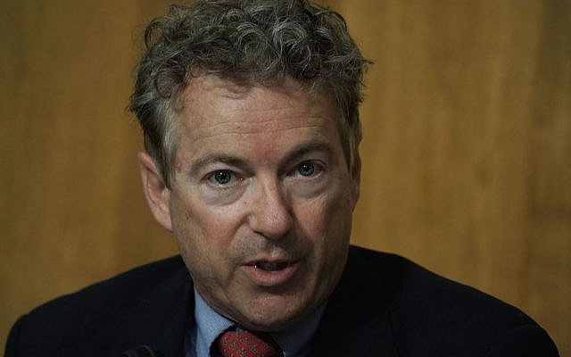 Rand Paul speaking at a Senate Foreign Relations Committee meeting on Capitol Hill, April 23, 2018. (Alex Wong/Getty Images, via JTA)