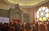 Some 1,000 guests attend the inauguration of Koenigsberg's New Synagogue in Kaliningrad, Russia, November 8, 2018. (Cnaan Liphshiz/JTA)