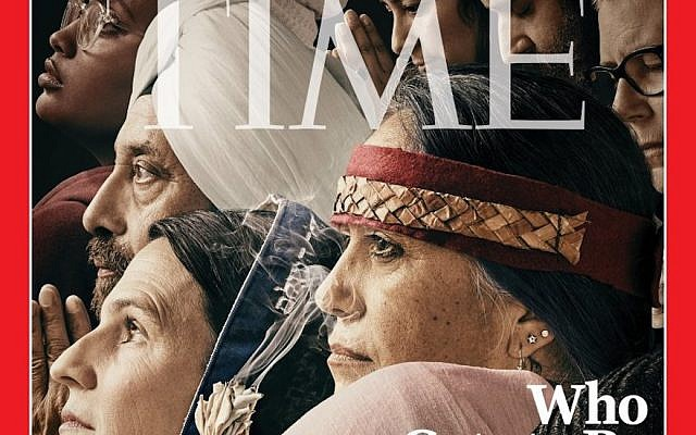 Rabbi Sharon Brous, wearing a blue tallit, can be seen on Time Magazine's latest cover. (Time Magazine via JTA)