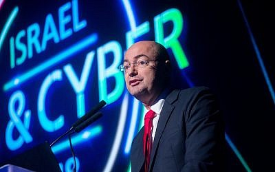 Yigal Unna, director general of the National Cyber Directorate, speaks at the 5th International Conference and Exhibition on Homeland Security and Cyber, November 13, 2018. (Miriam Alster/Flash90)