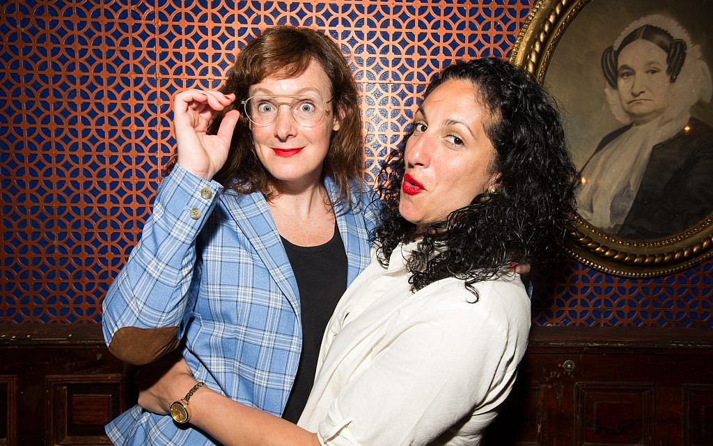 Jess Salomon, left, and Eman El-Husseini are seen at an Upright Citizens Brigade show in New York City. (Jenni Walkowiak)