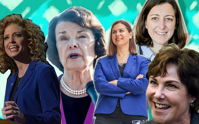 From left to right, Debbie Wasserman Schultz, Dianne Feinstein, Elissa Slotkin, Elaine Luria and Jacky Rosen. (JTA Collage; Wasserman Schultz photo: DNC via Flickr; Feinstein photo: Zach Gibson/Getty Images; Slotkin photo: Elissa Slotkin for Congress; Luria photo: Elaine Luria Campaign; Rosen photo: Ethan Miller/Getty Images)