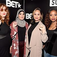 (L-R) Bob Bland, Linda Sarsour, Carmen Perez and Tamika D. Mallory attend BET's Social Awards 2018 at Tyler Perry Studio on February 11, 2018 in Atlanta, Georgia. (Paras Griffin/Getty Images for BET via JTA)