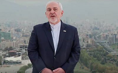 Iran Foreign Minister Mohammad Javad Zarif appearing in a YouTube video on November 6, 2018. (screen capture: YouTube)