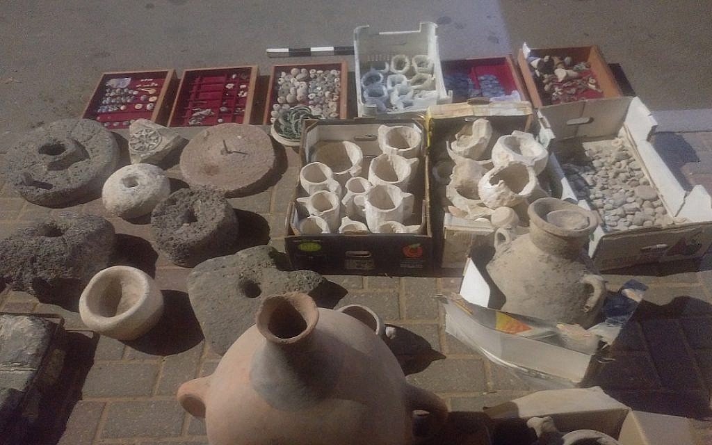 A collection of items confiscated by the Archaeology department of the Civil Administration in the West Bank. (Courtesy of Israel staff officer of archeology in the Civil Administration)