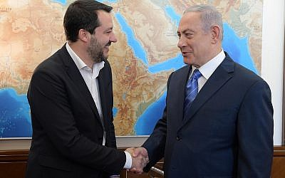 Italian Deputy PM Matteo Salvini, left, and PM Netanyahu in Jerusalem, December 12, 2018 (Amos Ben-Gershom/GPO)