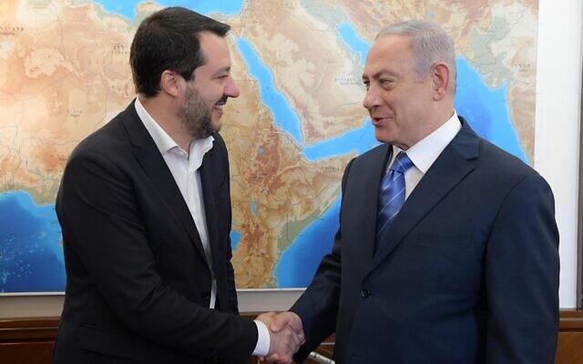 Italian then-deputy premier Matteo Salvini, left, and Prime Minister Benjamin Netanyahu in Jerusalem, December 12, 2018. (Amos Ben-Gershom/GPO)