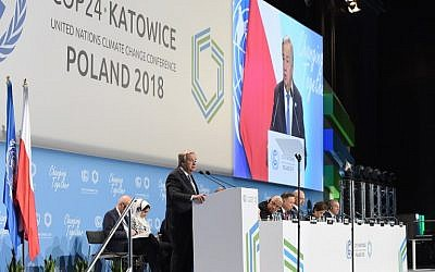 Antonio Guterres, United Nations Secretary-General, delivers a speech during the opening of the COP24 summit on climate change in Katowice, Poland, on December 3, 2018. (Janek SKARZYNSKI/AFP)