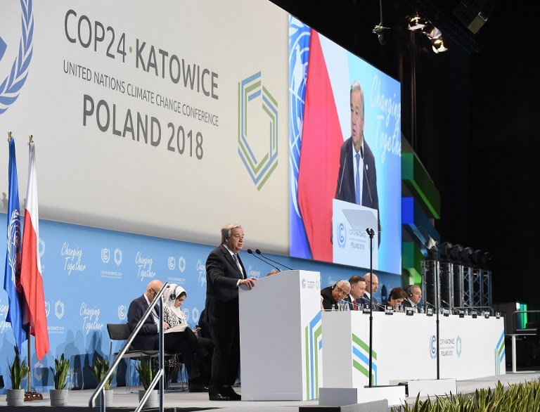 Antonio Guterres United Nations Secretary-General delivers a speech during the opening of the COP24 summit on climate change in Katowice Poland