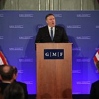 US Secretary of State Mike Pompeo speaks during an event at the Concert Noble in Brussels on December 4, 2018. (Francisco Seco/POOL/AFP)