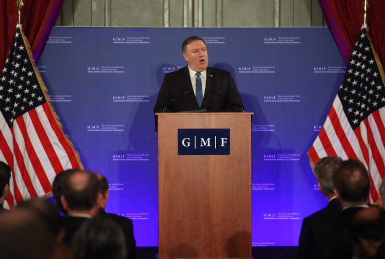 US Secretary of State Mike Pompeo speaks during an event at the Concert Noble in Brussels