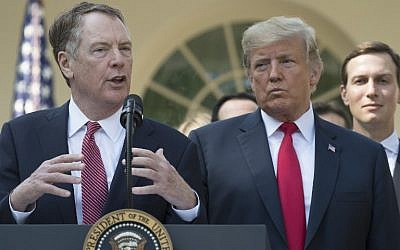 In this file photo taken on October 1, 2018 US Trade Rep. Robert Lighthizer speaks next to US President Donald Trump from the Rose Garden of the White House in Washington, DC. (Jim WATSON / AFP)