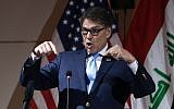 US Energy Secretary Rick Perry speaks at a joint press conference in the Iraqi capital Baghdad on December 11, 2018. (Photo by Hadi Mizban / POOL / AFP)