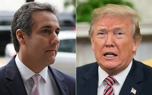 This combination of pictures created on April 11, 2018, shows Michael Cohen (L) and US President Donald Trump. (Mark Wilson and Nicholas Kamm/various sources/AFP)