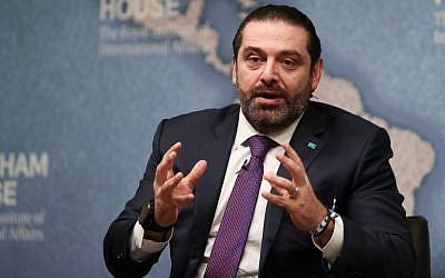 Lebanese Prime Minister Saad Hariri speaks during a conference at Chatham House in London on December 13, 2018. (Daniel Leak-Olivas/AFP)